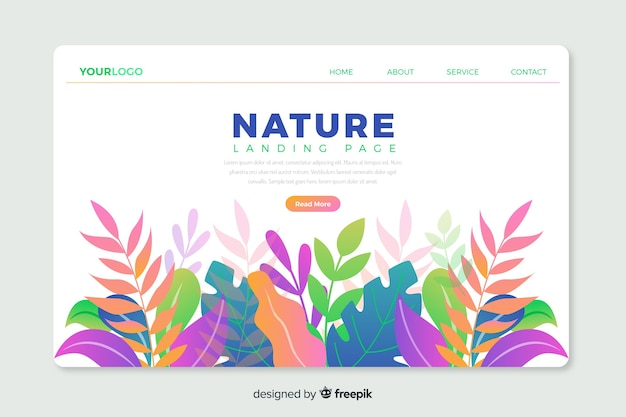 Korporative landingpage-webvorlage mit naturthemadesign Kostenlosen Vektoren