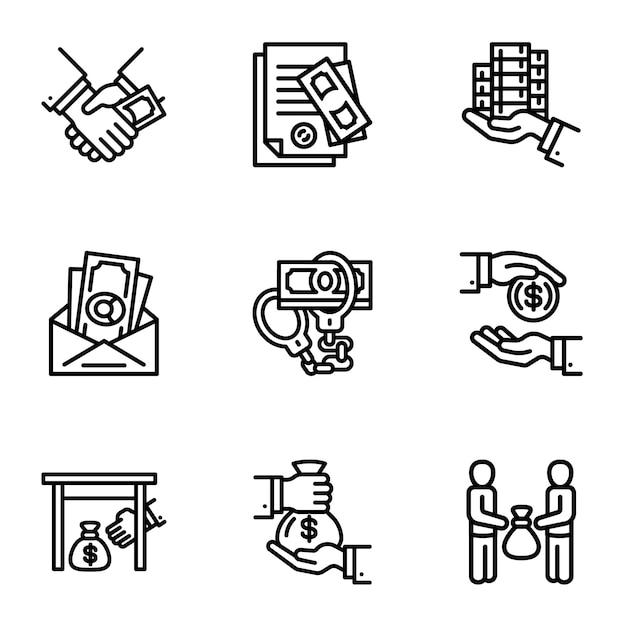 Korruptions-icon-set. gliederungssatz von 9 korruptionsikonen Premium Vektoren