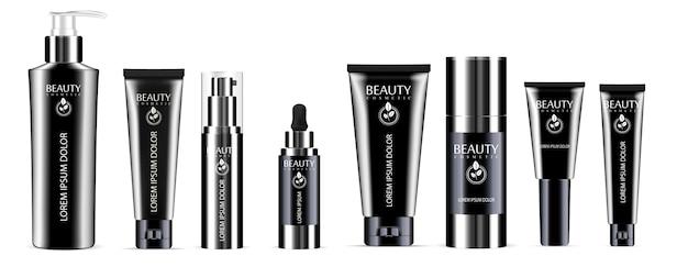Kosmetik flaschenset spender Premium Vektoren