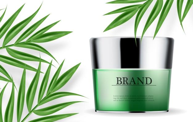 Kosmetik grüne creme und spray feuchtigkeitscreme Premium Vektoren
