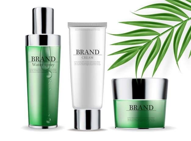 Kosmetik grüne creme und spray Premium Vektoren