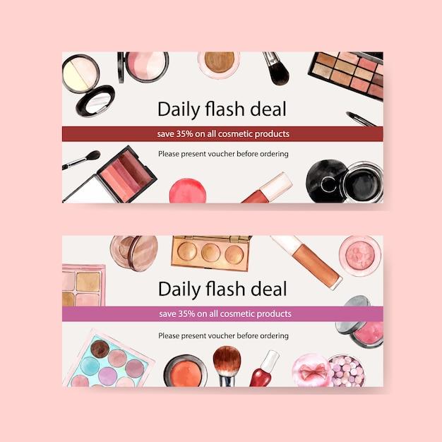 Kosmetik-gutschein mit pinsel, lidschatten, lippenstift Kostenlosen Vektoren