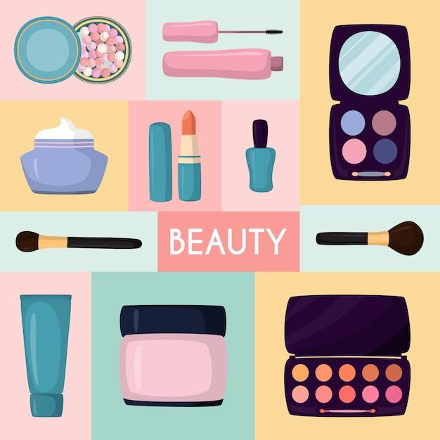 Kosmetik in der tasche, sackartige make-up-meister rosa farbe mit festgelegten gipsschatten, cremes und lippenstiften, illustration Premium Vektoren