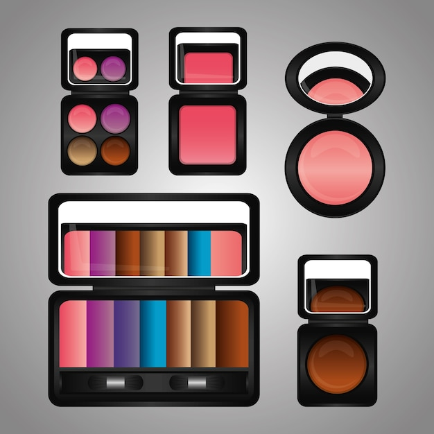 Kosmetik make-up kit lidschatten rouge spiegel Premium Vektoren