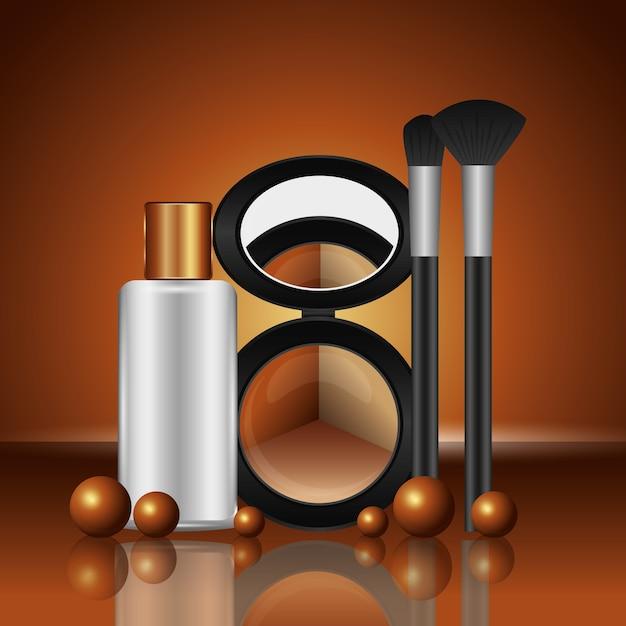 Kosmetik make-up lose lidschatten pinsel und lotion flasche Premium Vektoren