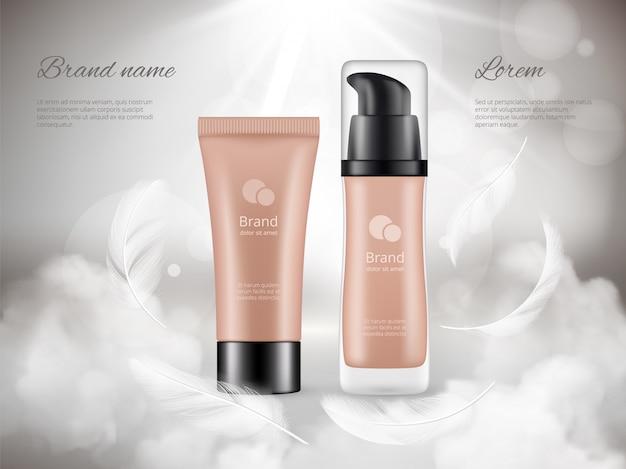 Kosmetik-poster. hautcreme-plastikflaschennachtwolken-federdampf-fördernde luxuswerbung realistisch Premium Vektoren