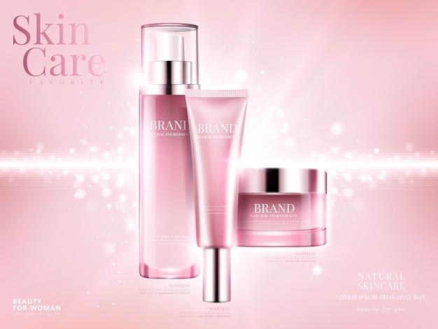 Kosmetik-set-anzeigen, hellrosa paket auf rosa hintergrund mit glitzernden bokeh-elementen in der illustration Premium Vektoren