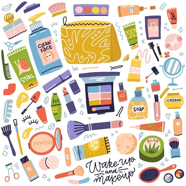 Kosmetik- und make-up-kollektion. set cremetube, lippenstift, nagellack, mascara, lidschatten, pinsel. frauenzeug, mädchenzubehör. gesicht, hautpflegeprodukte. flache hand gezeichnete ikonenillustration Premium Vektoren