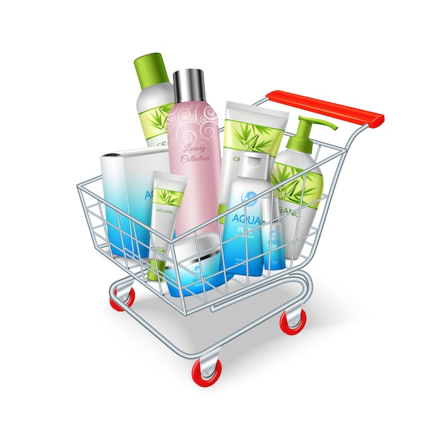 Kosmetik warenkorb Kostenlosen Vektoren