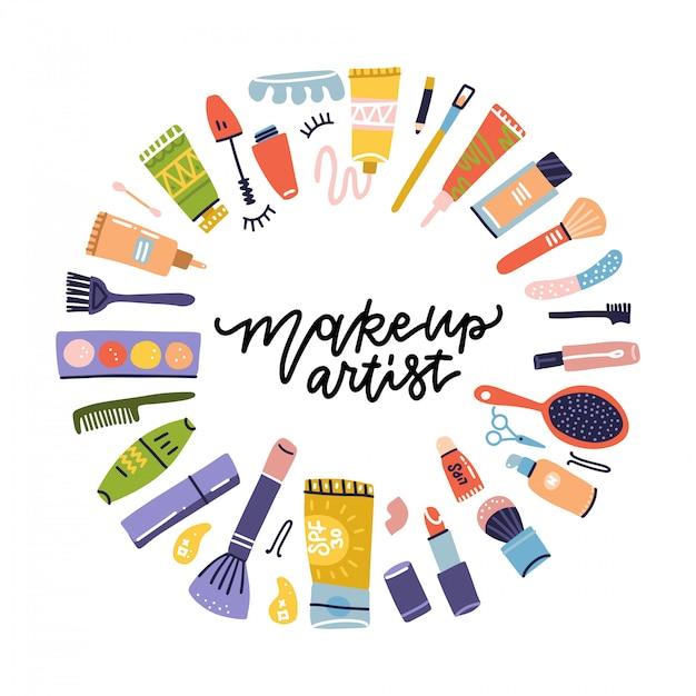 Kosmetiketikett gekritzelrahmen des schönheitssalons für maskenbildner. lippenstift und shampoo, puder und mascara, lotionsflasche und cremesymbole. kosmetikartikel. flache hand gezeichnete ikonenillustration Premium Vektoren