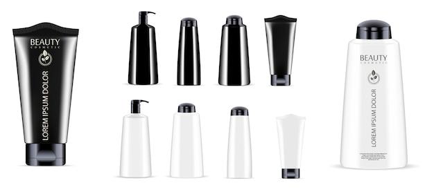 Kosmetikflasche glas gesetzt. spender, tropfer, tube Premium Vektoren