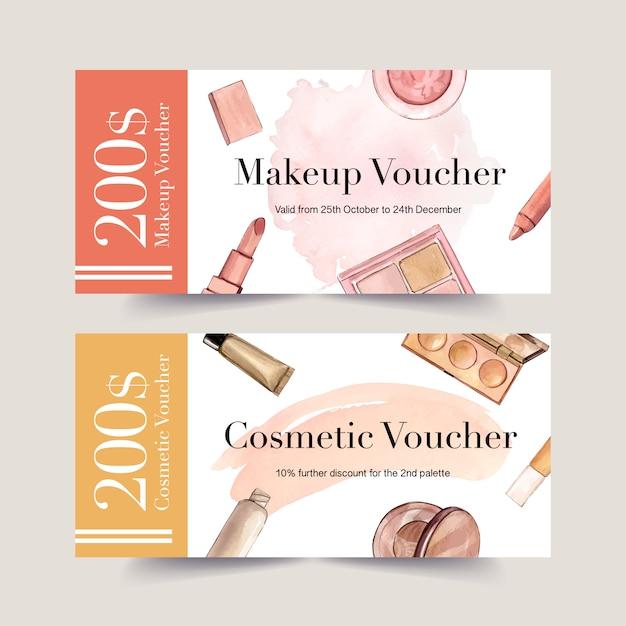 Kosmetikgutschein mit lippenstift, pinsel, grundierung Kostenlosen Vektoren
