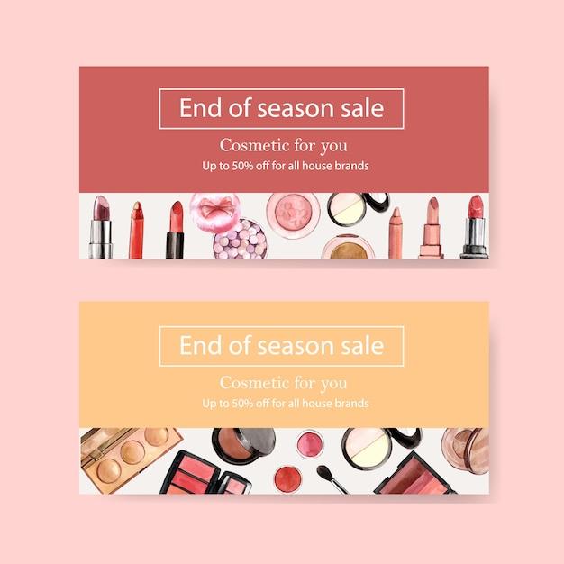 Kosmetikgutschein mit pinsel, textmarker und lippenstift Kostenlosen Vektoren