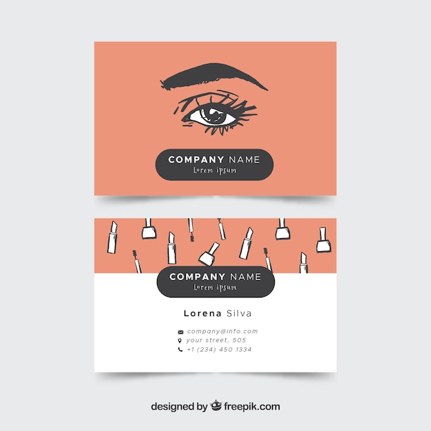 Kosmetikkarte mit skizzen Kostenlosen Vektoren