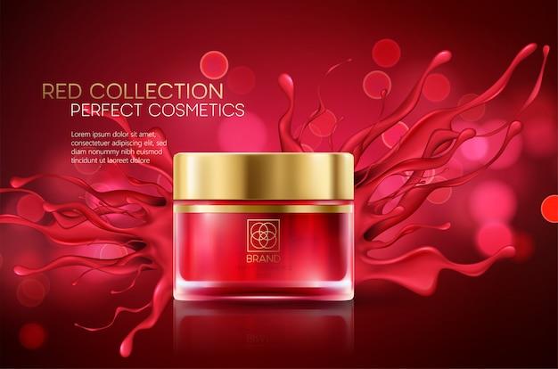 Kosmetikprodukte mit luxuskollektionszusammensetzung auf rotem unscharfem bokehhintergrund. Premium Vektoren