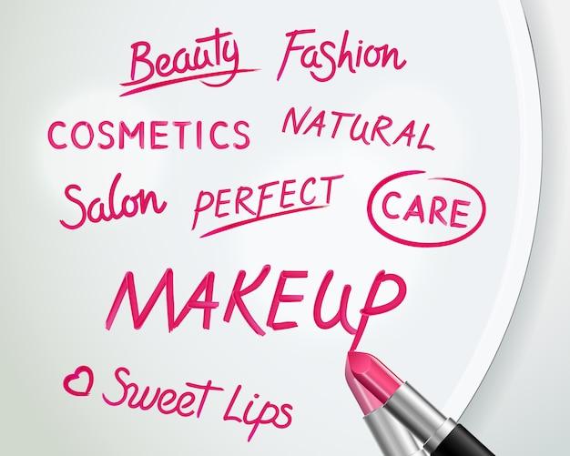 Kosmetikschönheitsmake-upanzeigenplakat mit der hand schriftlichen realistischen roten lippenstiftwörtern Kostenlosen Vektoren