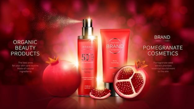 Kosmetikserie mit granatapfelfrüchten Kostenlosen Vektoren