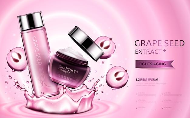 Kosmetische anzeigen des traubenkernextrakts, schöne behälter mit bestandteilen und spritzwasserelementen in der 3d-illustration Premium Vektoren