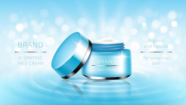 Kosmetische banner blau offenes glas für hautpflege-creme, bereit für promotion-marke. Kostenlosen Vektoren