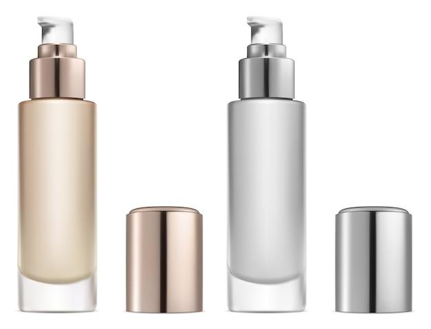 Kosmetische basiscreme. serumpumpenflasche. foundation powder beauty-paket. behälter für gesichtspflegeprodukte. Premium Vektoren