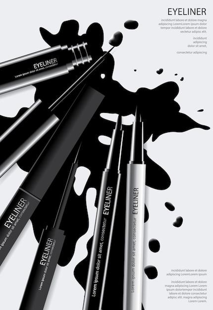 Kosmetische eyeliner-plakatschablone Premium Vektoren