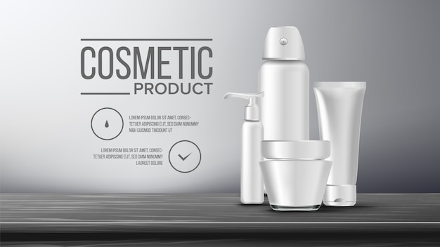 Kosmetische flasche banner vorlage Premium Vektoren