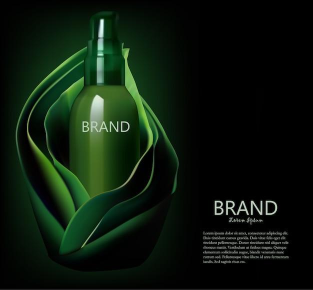 Kosmetische flasche, paket in einem grün lässt hintergrundschablone Premium Vektoren