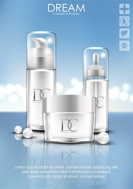 Kosmetische hautpflegecremeverpackung Premium Vektoren