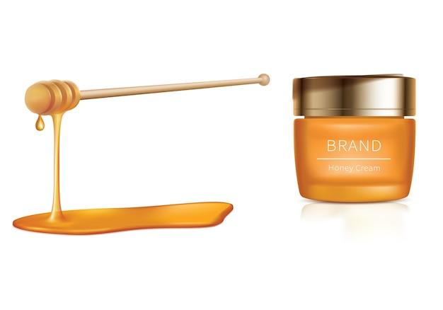 Kosmetische illustration mit honigkosmetik Kostenlosen Vektoren