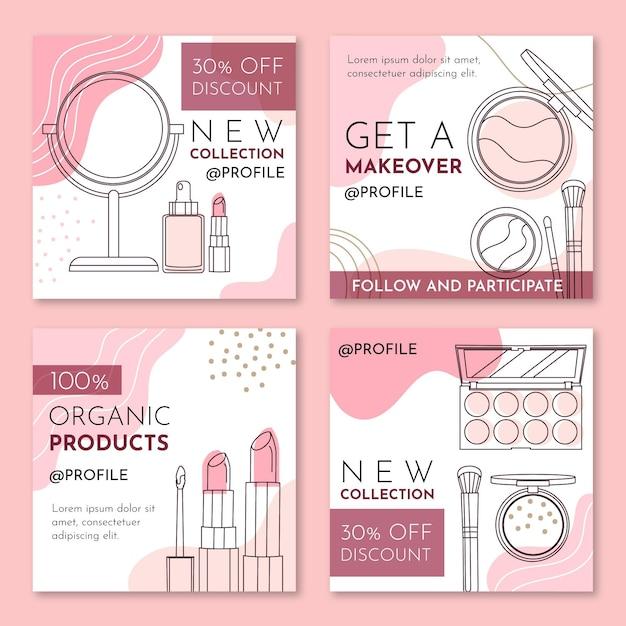 Kosmetische instagram-beiträge Kostenlosen Vektoren