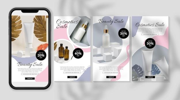 Kosmetische instagram-geschichten mit sahne in der flasche Kostenlosen Vektoren