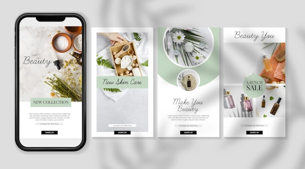 Kosmetische instagram geschichten vorlage Premium Vektoren