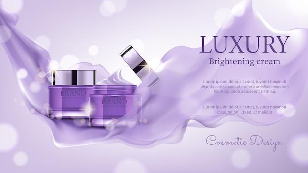 Kosmetische luxusanzeigen, vorzüglicher behälter mit purpurrotem satin auf bokeh hintergrund Premium Vektoren