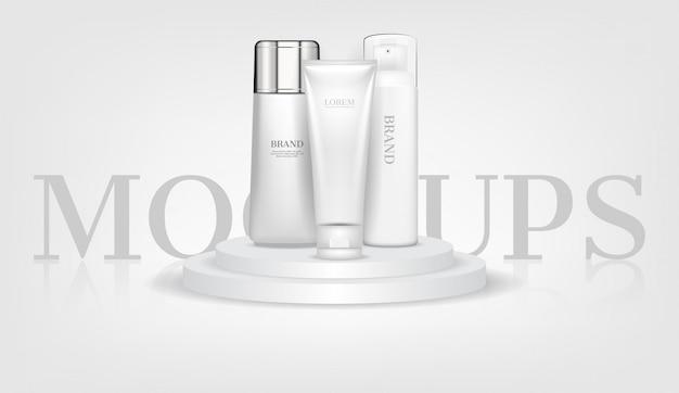 Kosmetische modelle auf weißem podium Premium Vektoren