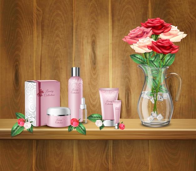 Kosmetische produkte und vase mit rosen auf regal Kostenlosen Vektoren