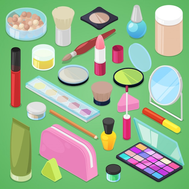 Kosmetische schönheit bilden kosmetologie für schöne frau mit make-up-grundierungspulver oder lidschatten-illustrationssatz von kosmetikerzubehör in kosmetikerin isometrisch lokalisiert auf hintergrund Premium Vektoren
