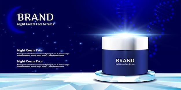 Kosmetischer cremetiegel auf dem eleganten stand mit nacht Premium Vektoren