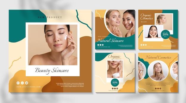 Kosmetischer instagram-beitrag der schönen frauen Premium Vektoren