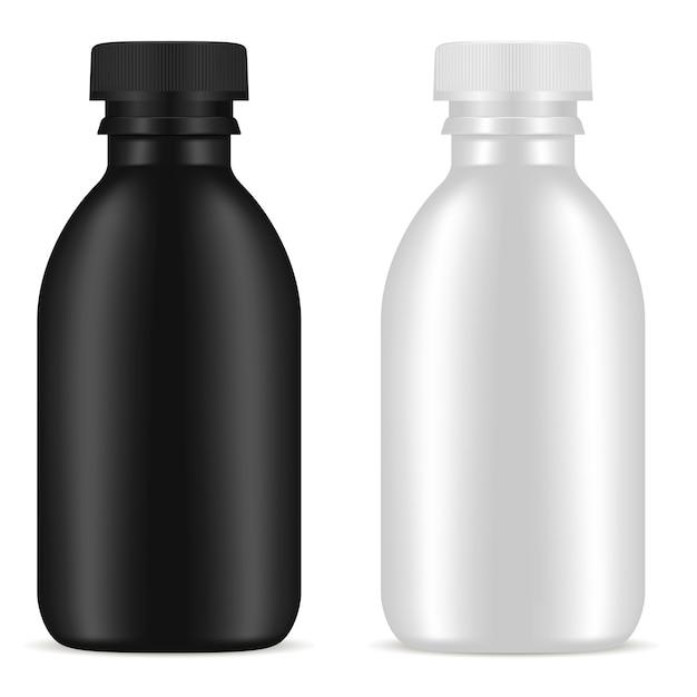 Kosmetischer leerer flaschen-produkt-satz. glasbehälter. Premium Vektoren