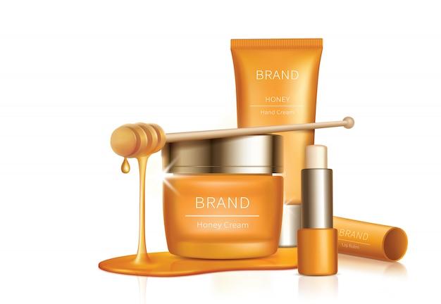 Kosmetischer vektorhintergrund mit honigtropfen Kostenlosen Vektoren