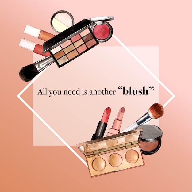Kosmetisches kranzdesign mit lippenstift, leuchtmarker, lidschatten Kostenlosen Vektoren