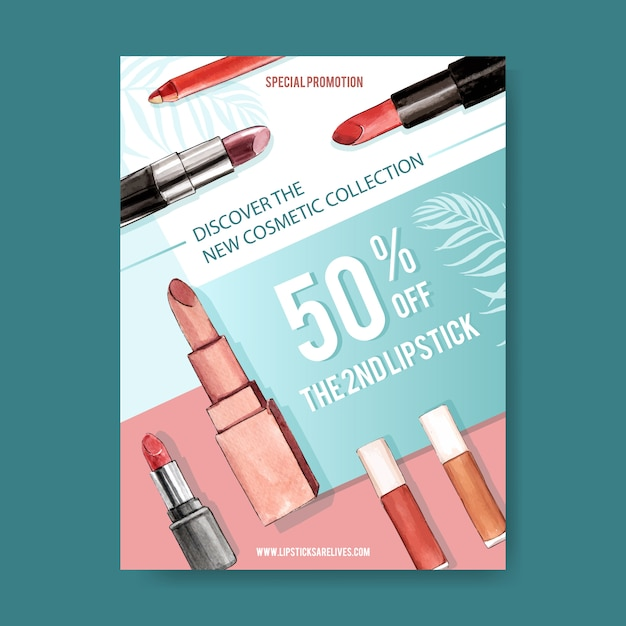 Kosmetisches plakat mit verschiedenen lippenstiften Kostenlosen Vektoren