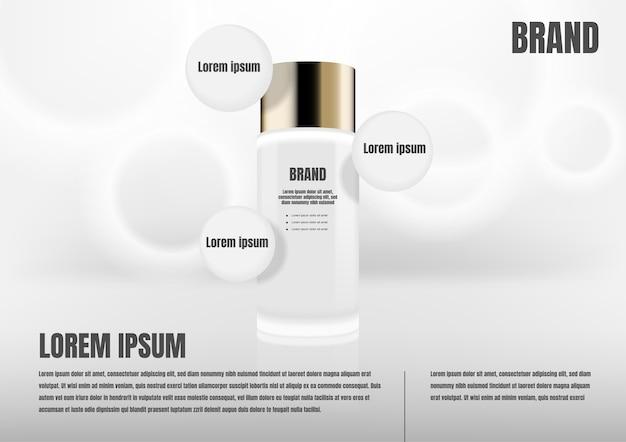 Kosmetisches produkt mit drei kreisikonen Premium Vektoren