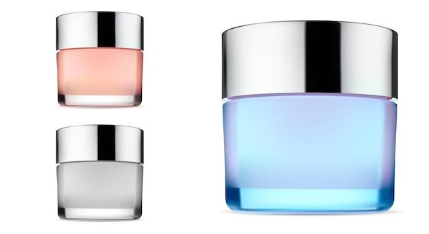 Kosmetisches sahnevektor-glasgefäß. behälter leer Premium Vektoren