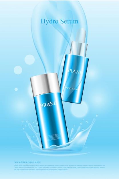 Kosmetisches wasserproduktplakat der schönen form Premium Vektoren