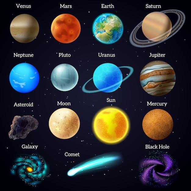 Kosmische himmelskörper des universums mars venusplaneten und sonnenpädagogisches hilfsplakatschwarzhintergrund Kostenlosen Vektoren