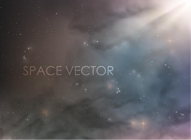 Kosmischer raum mit nebel und rauch, sterne im hintergrund Premium Vektoren