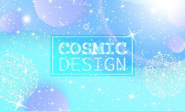 Kosmisches muster. fantasy-universum. feenhintergrund. holographische magische sterne. minimal. trendige verlaufsfarben. flüssige formen. illustration. Premium Vektoren