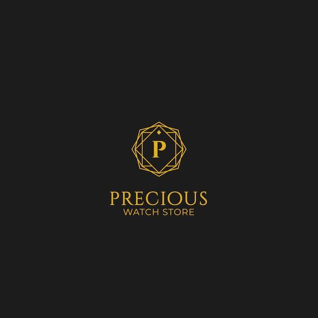 Kostbares geschenkuhr-juweliergeschäftlogo Premium Vektoren
