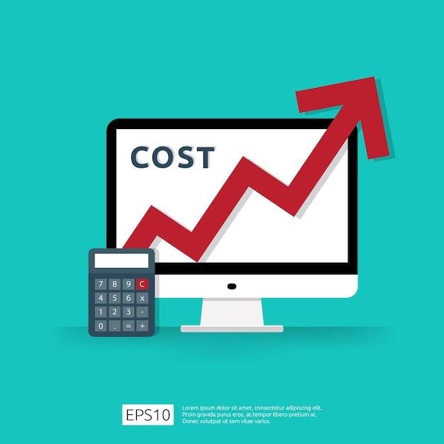 Kostengebührausgaben erhöhen sich mit dem roten pfeil, der oben wachstumsdiagramm steigt Premium Vektoren